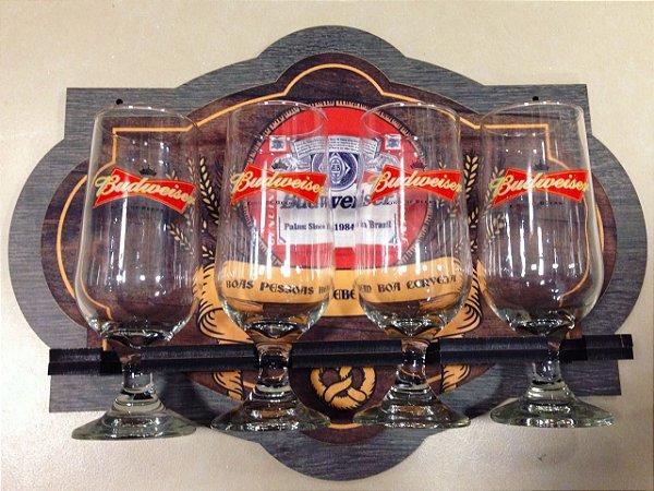 Kit Budweiser - 4 Taças / Quadro em Madeira MDF
