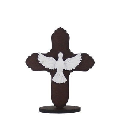 Enfeite Espírito Santo - Marrom/Branco 14x14 cm