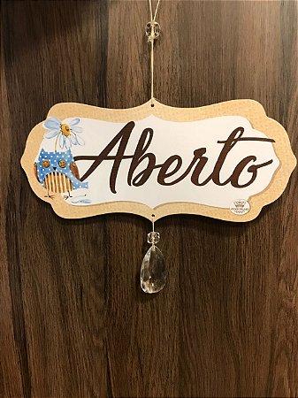 Placa madeira ABERTO/FECHADO corujinhas