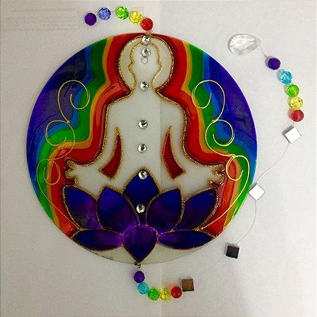Mandala Chakras vidro - 30cm