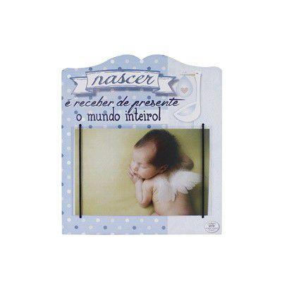 Porta Retrato Nasce... Madeira- azul