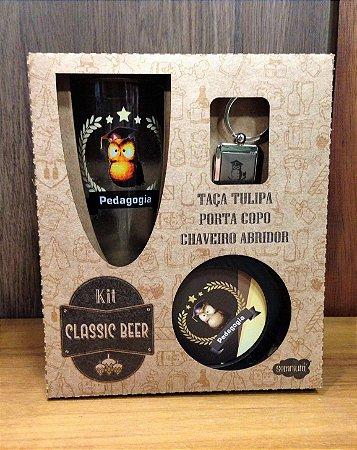 Kit classic beer Taça+ chaveiro/abridor de garrafa+ porta copos- PEDAGOGIA