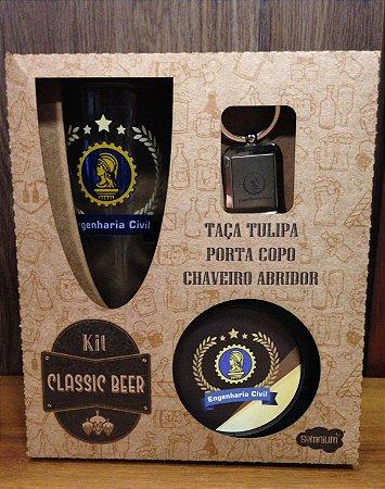 Kit classic beer Taça+ chaveiro/abridor de garrafa+ porta copos- ENGENHARIA CIVIL