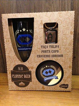 Kit classic beer Taça+ chaveiro/abridor de garrafa+ porta copos- ADMINISTRAÇÃO