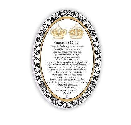 Quadro branco oval- Oração do Casal