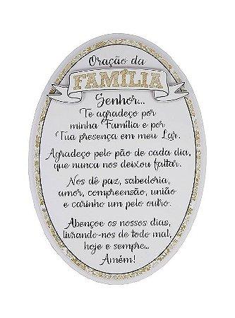Quadro Oval com Aplique  28x29- Oração da Família