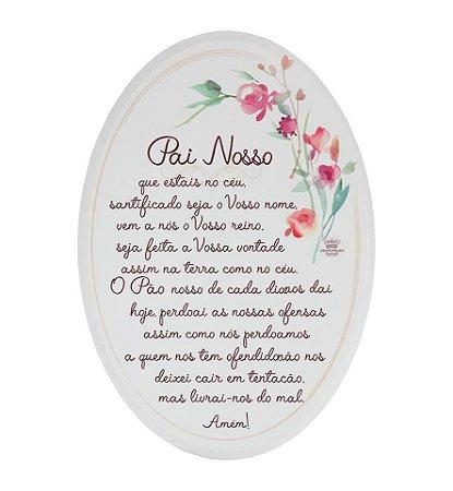 Placa Oval floral- Pai Nosso