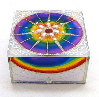 Caixa de Vidro Decorada Com Mandala