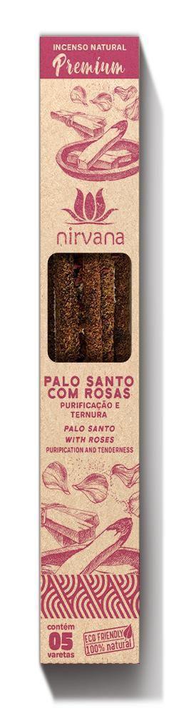 Incenso Natural Premium 5 varetas Nirvana - Palo Santo com Rosas