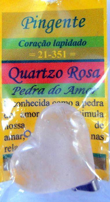 Pingente Coração - Quartzo Rosa