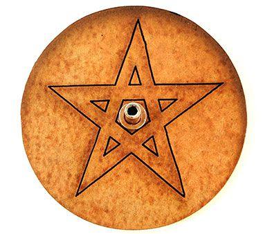 Incensário Redondo em MDF - Pentagrama