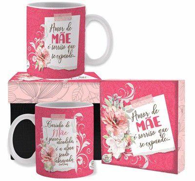 Caneca cerâmica com Caixa- Amor de Mãe é sorriso....