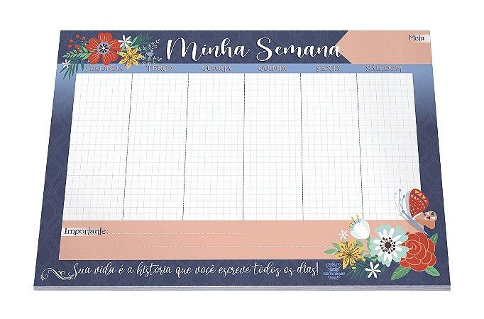 Planner Minha Semana com calendário- Floral