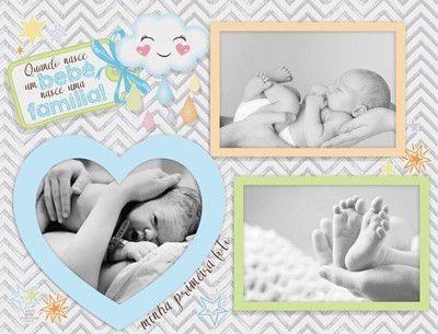 Porta Retrato 3 fotos Azul - Quando Nasce um bebê