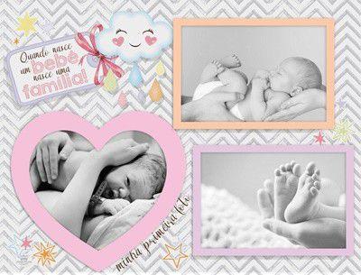 Porta Retrato 3 fotos Rosa - Quando Nasce um bebê
