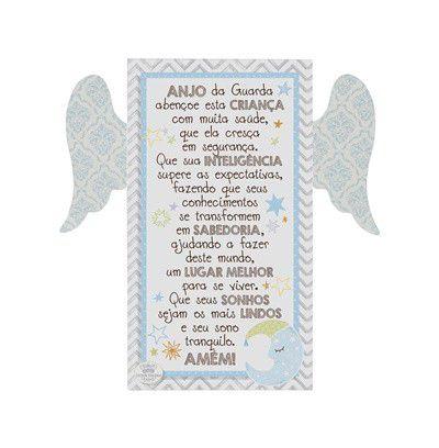 Placa de mesa com Asas Azul- Anjo da Guarda...