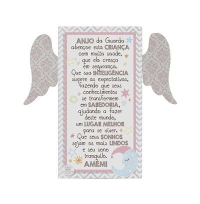 Placa de mesa com Asas Rosa- Anjo da Guarda...