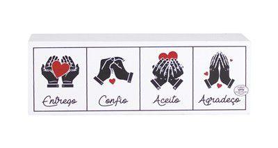 Placa de Mesa - Entrego, Confio , Aceito, Agradeço