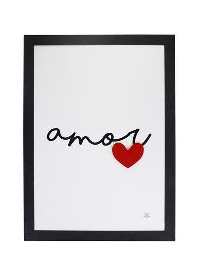Quadro com aplique coração - Amor