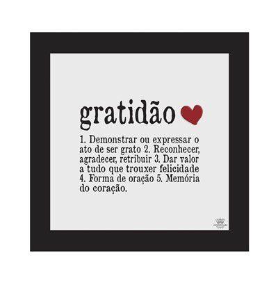 Quadro com aplique coração - Gratidão