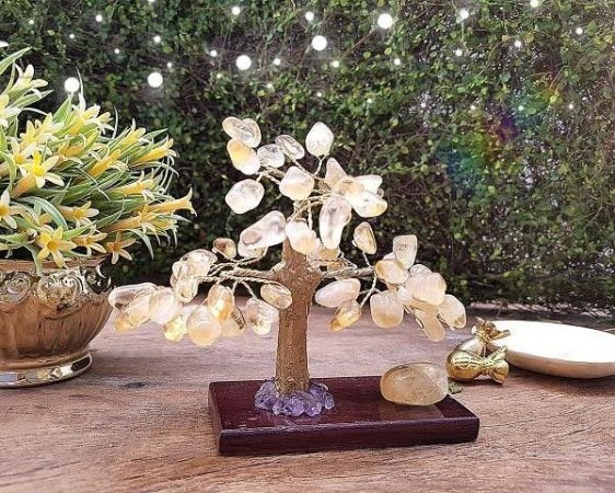 Árvore de Pedra com base Madeira - Citrino