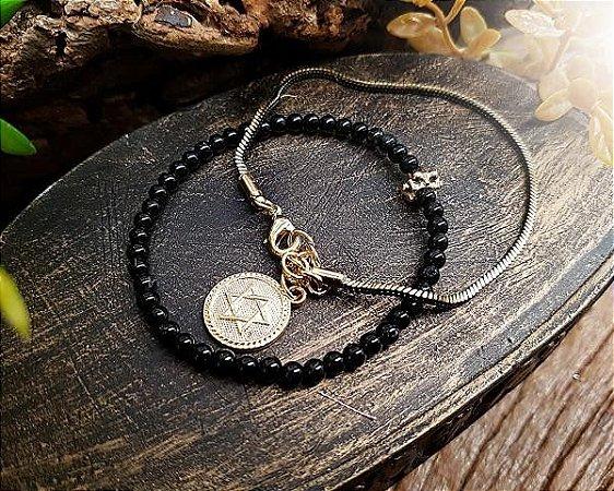 Dupla de pulseiras - turmalina negra
