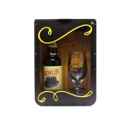 Kit com Taça + Cerveja na caixa MDF - Frases Diversas