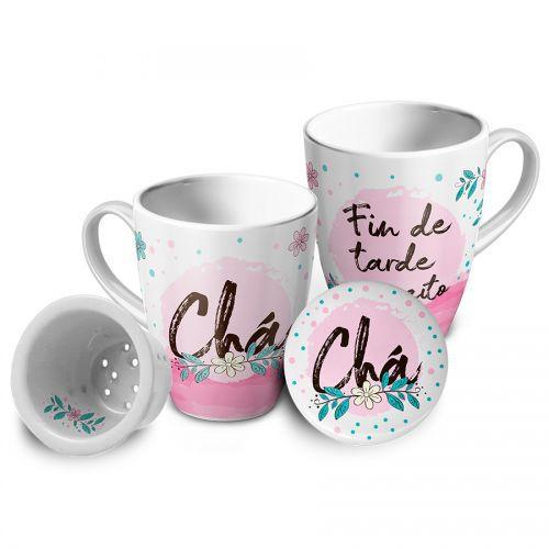 Caneca com Infusor Porcelana - Chá, Fim de Tarde
