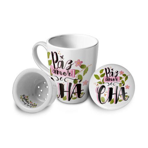 Caneca com Infusor Porcelana - Paz, amor e Chá