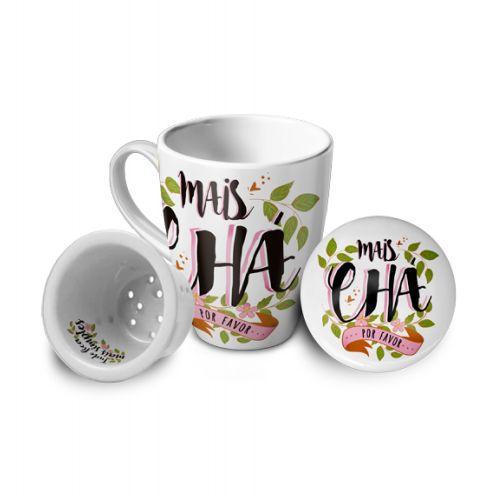 Caneca com Infusor Porcelana - Mais Chá por favor