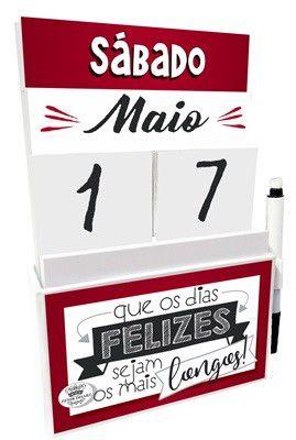 Expositor com Bloco de Anotação e Calendário - Coloque ser Feliz ...