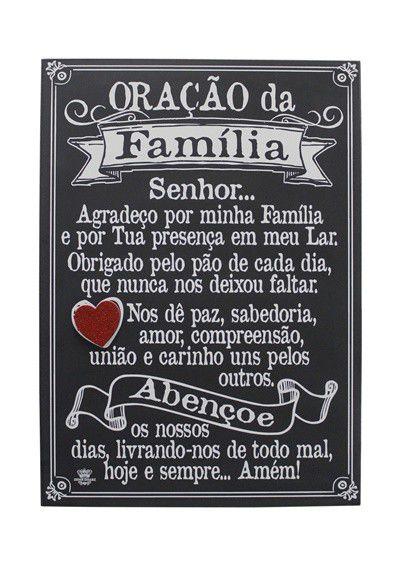 Quadro com aplique coração - Oração da Família