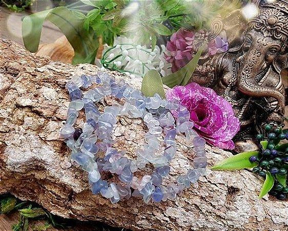 Pulseira de pedras cascalhos - Fluorita