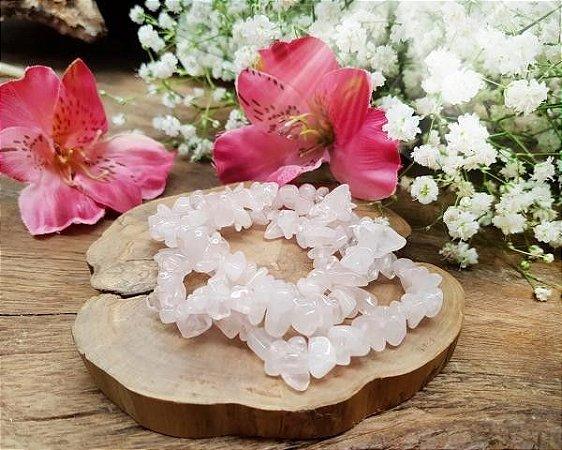 Pulseira de Pedras cascalhos - Quartzo Rosa