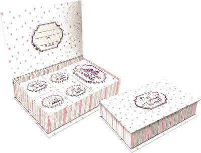 Caixa de Lembranças Meus Pequenos Tesouros - Listrada Rosa