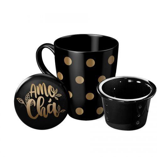 Caneca com Infusor Porcelana - Amo Chá preta