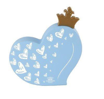 Enfeite de Mesa coração com aplique coroa AZUL