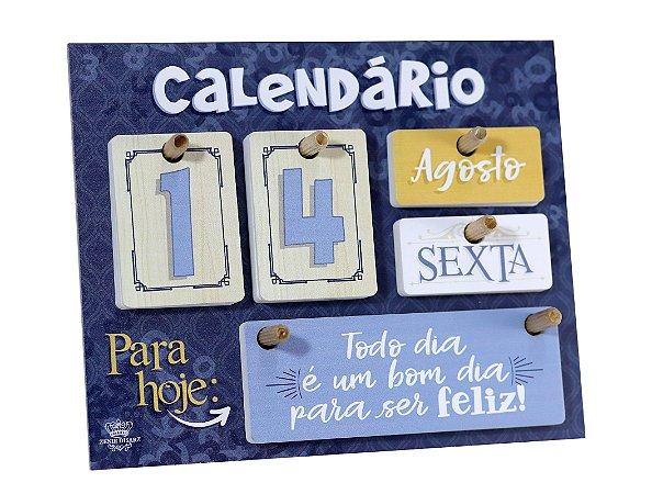 Calendário permanente de mesa com Mensagens - Azul