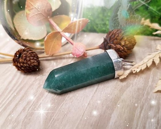 Pingente de Pedra com corrente - Quartzo Verde
