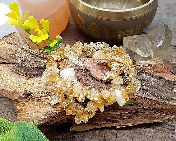 Pulseira de pedras cascalhos - Citrino