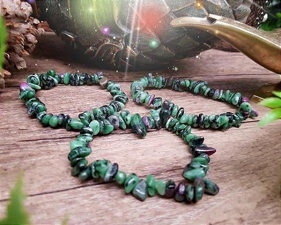 Pulseira de Pedras cascalho - Rubi com Zoisita