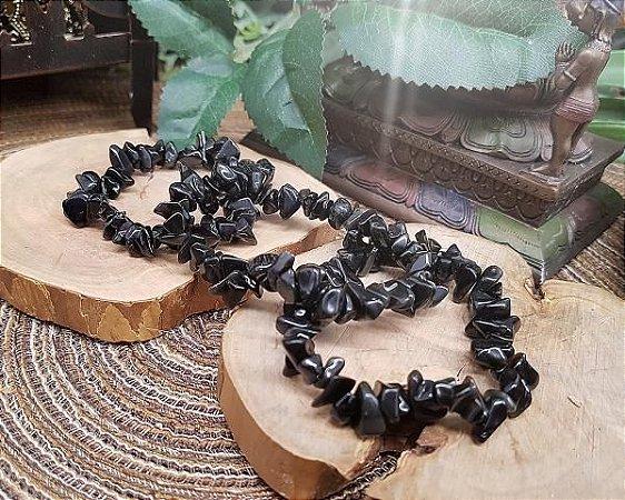 Pulseira de Pedras cascalho - Obsidiana