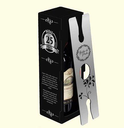 Caixa MDF para garrafa de Vinho com 2 taças - Bodas de Prata