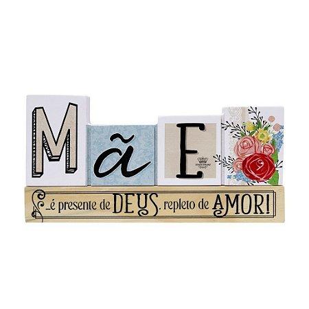 Placa de mesa madeira floral - Mãe é presente de Deus