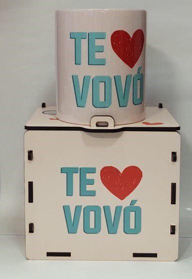 Caneca Cerâmica com caixa MDF - Te amo Vovó