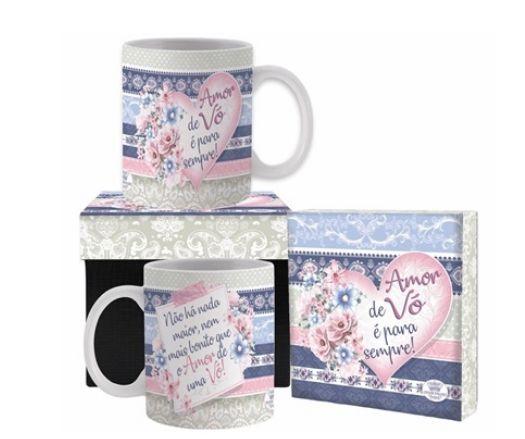 Caneca cerâmica com Caixa- Amor de Vó é pra sempre