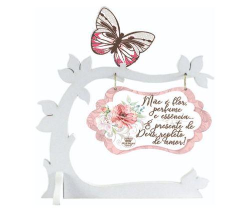Enfeite de Mesa Árvore com borboleta - Mãe é flor ....