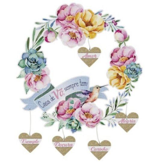 Guirlanda madeira floral - Casa de Vó sempre tem...