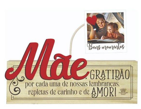 Madeirinha Cru com porta Recados/fotos - Mãe Gratidão