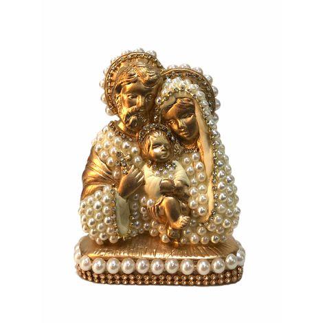 Busto Sagrada Família com perolas 15cm - Dourada
